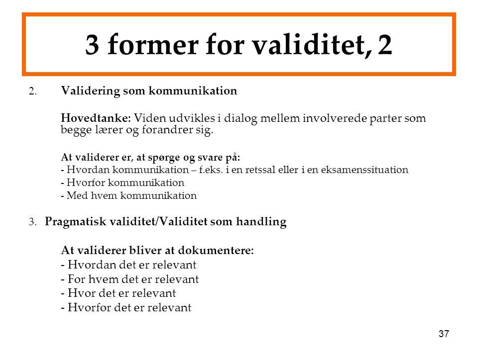 3 former for validitet, 2 At validerer bliver at dokumentere: