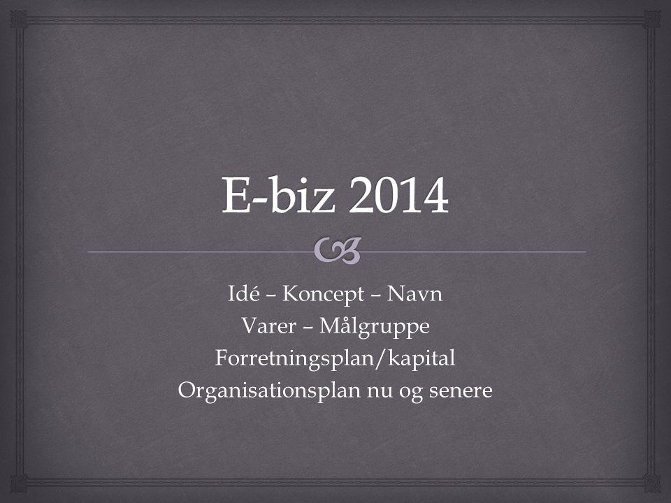 E-biz 2014 Idé – Koncept – Navn Varer – Målgruppe