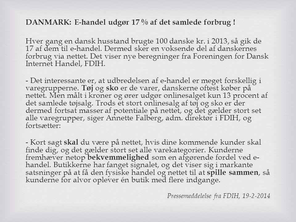 DANMARK: E-handel udgør 17 % af det samlede forbrug !