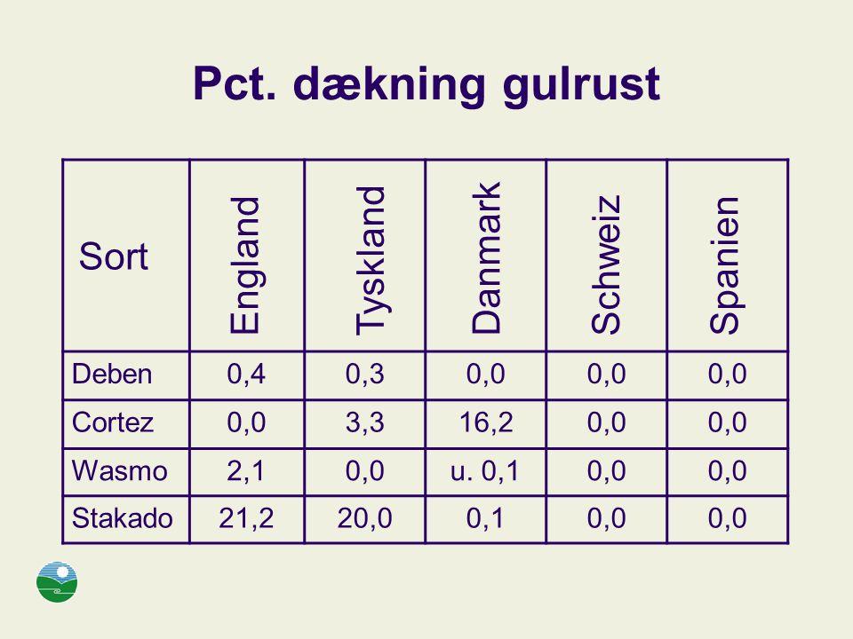 Pct. dækning gulrust Sort Tyskland Danmark England Schweiz Spanien