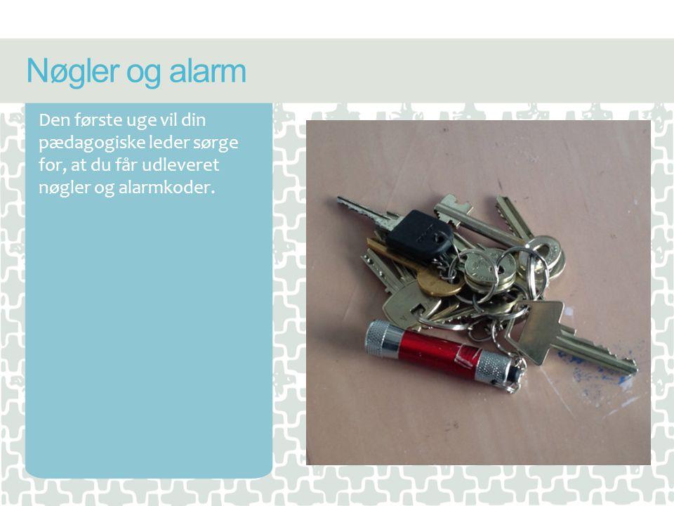 Nøgler og alarm Den første uge vil din pædagogiske leder sørge for, at du får udleveret nøgler og alarmkoder.