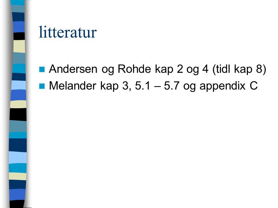 litteratur Andersen og Rohde kap 2 og 4 (tidl kap 8)