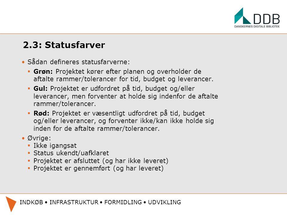 2.3: Statusfarver Sådan defineres statusfarverne: