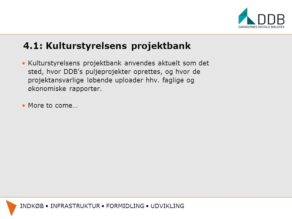 4.1: Kulturstyrelsens projektbank