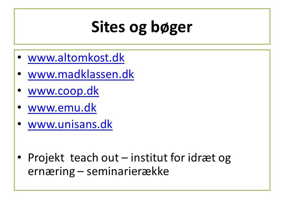 Sites og bøger www.altomkost.dk www.madklassen.dk www.coop.dk
