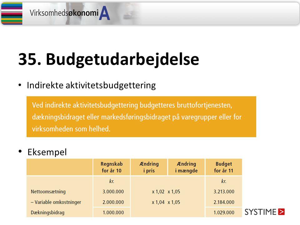 35. Budgetudarbejdelse Indirekte aktivitetsbudgettering Eksempel