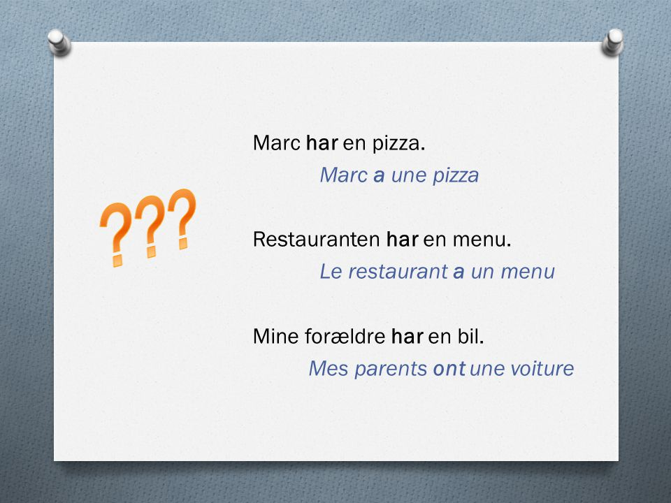 Marc har en pizza. Marc a une pizza Restauranten har en menu