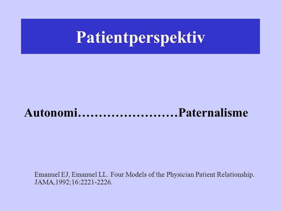 Patientperspektiv Autonomi……………………Paternalisme