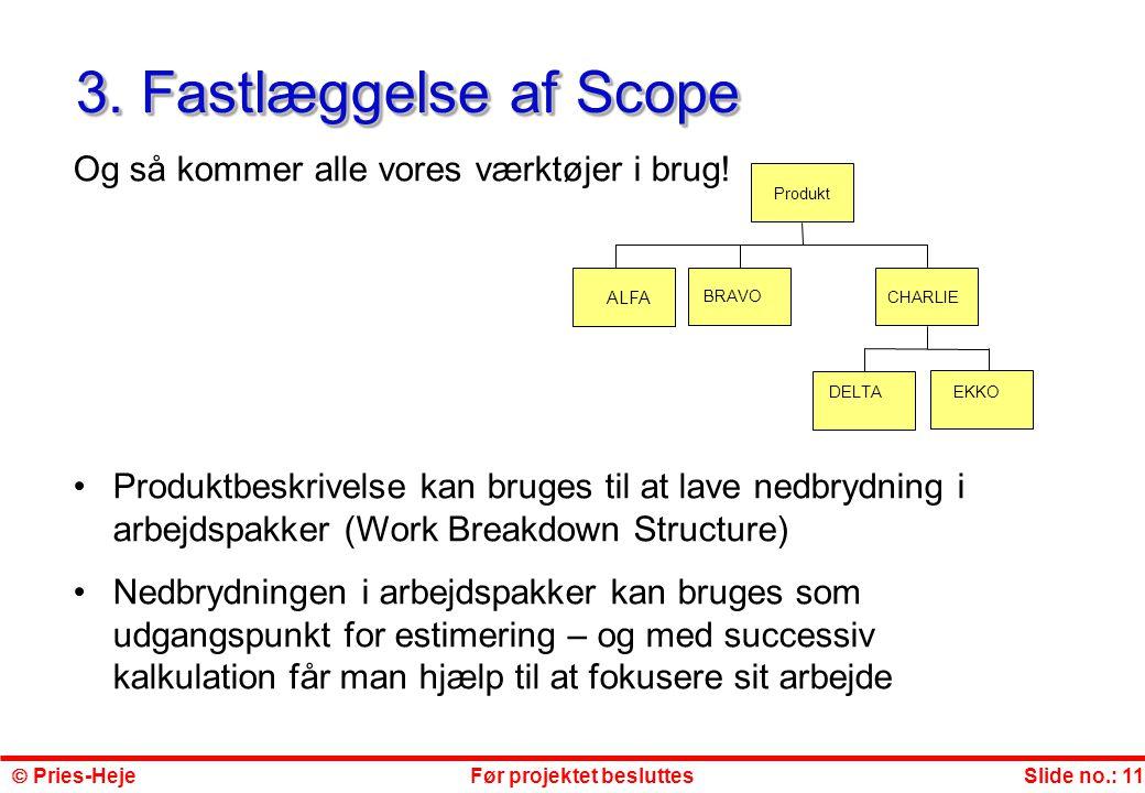 3. Fastlæggelse af Scope Og så kommer alle vores værktøjer i brug!