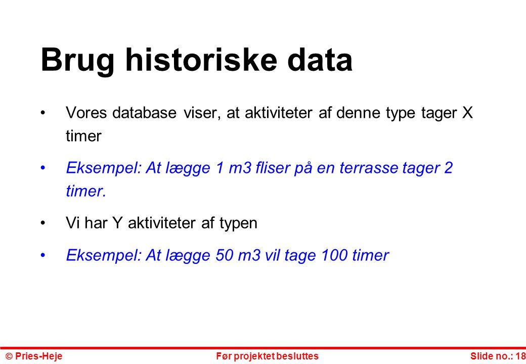 Brug historiske data Vores database viser, at aktiviteter af denne type tager X timer. Eksempel: At lægge 1 m3 fliser på en terrasse tager 2 timer.
