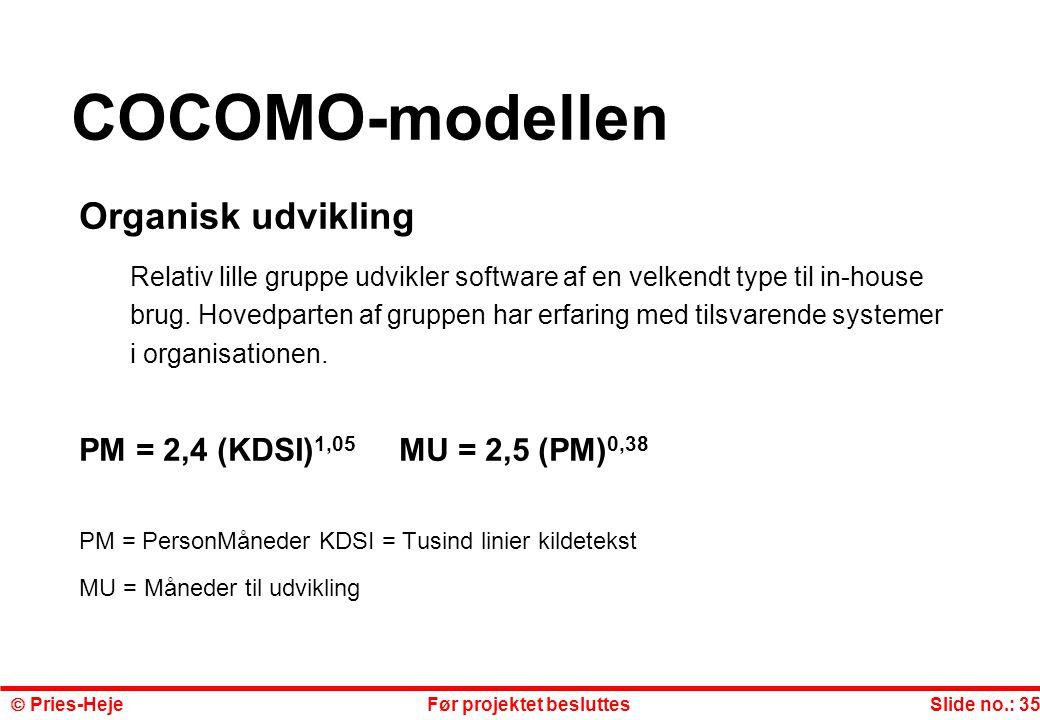 COCOMO-modellen Organisk udvikling