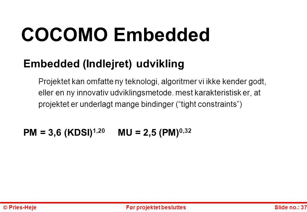 COCOMO Embedded Embedded (Indlejret) udvikling
