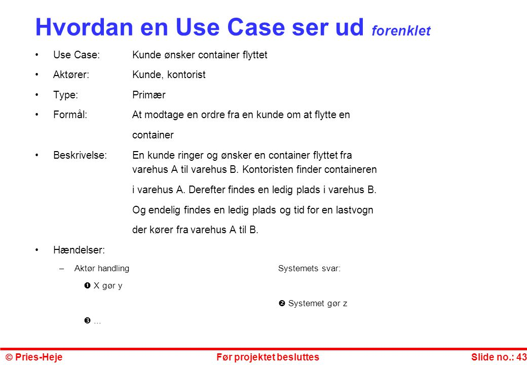 Hvordan en Use Case ser ud forenklet