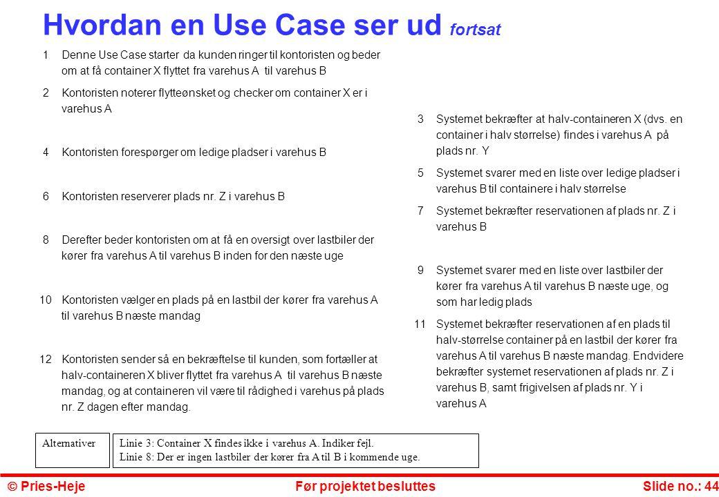 Hvordan en Use Case ser ud fortsat