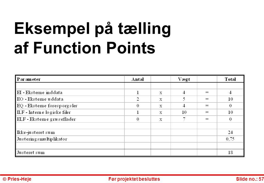 Eksempel på tælling af Function Points