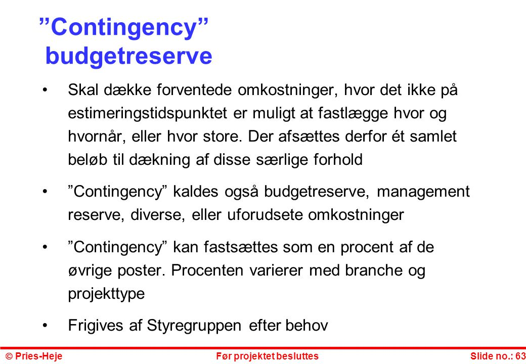 Contingency budgetreserve