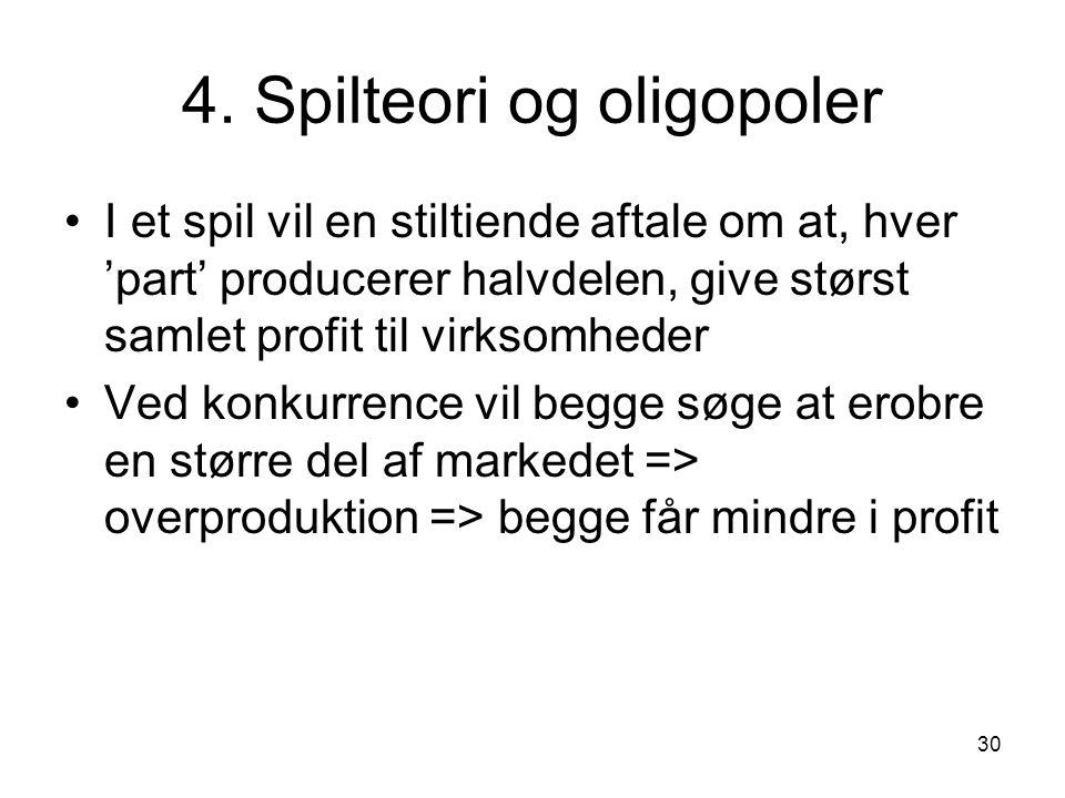4. Spilteori og oligopoler