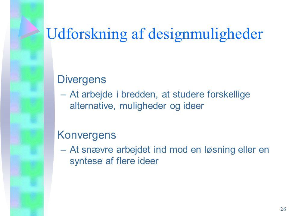Udforskning af designmuligheder