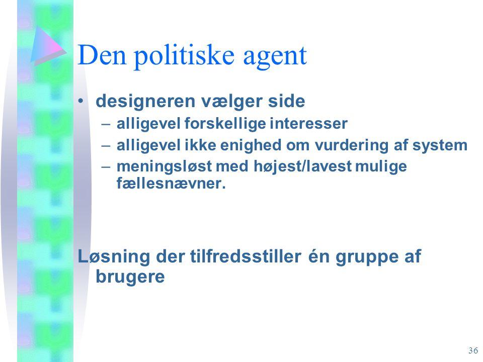 Den politiske agent designeren vælger side