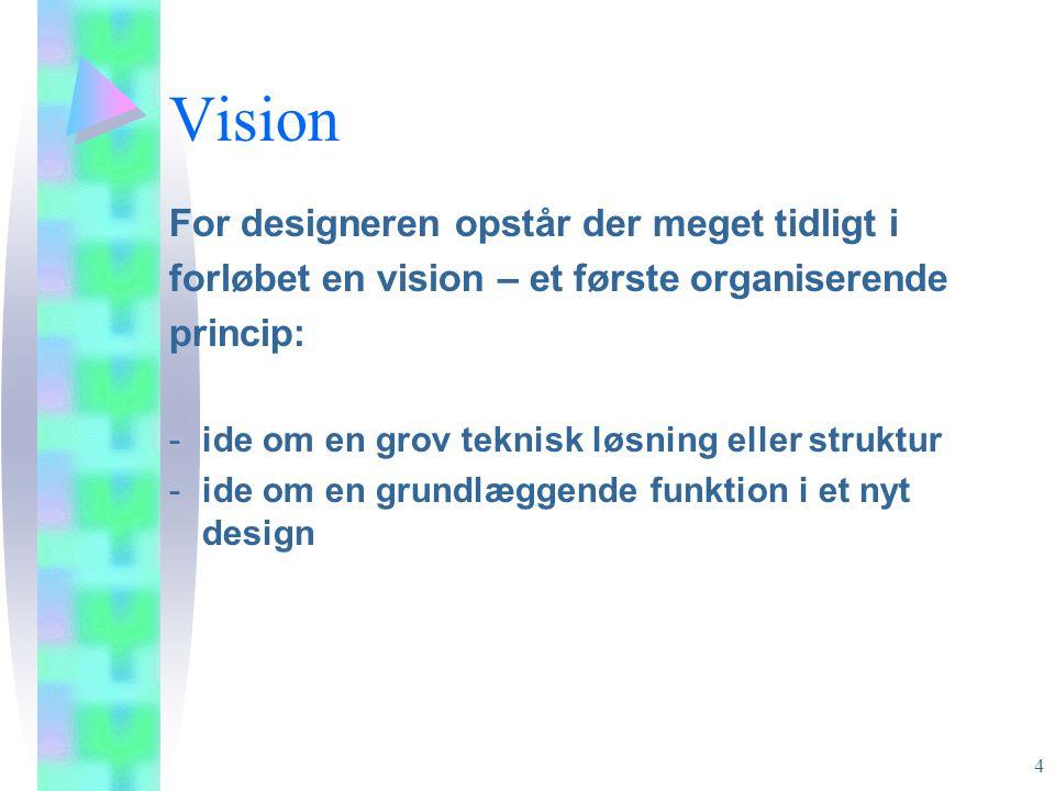 Vision For designeren opstår der meget tidligt i