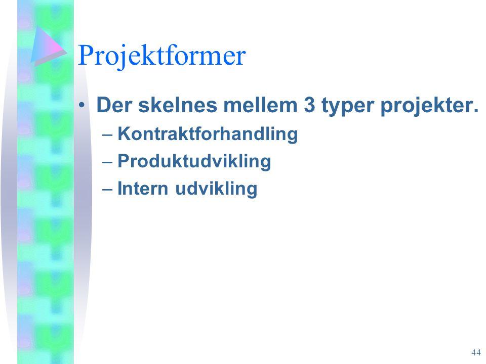 Projektformer Der skelnes mellem 3 typer projekter.