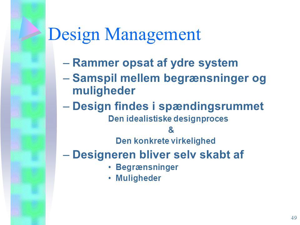 Design Management Rammer opsat af ydre system