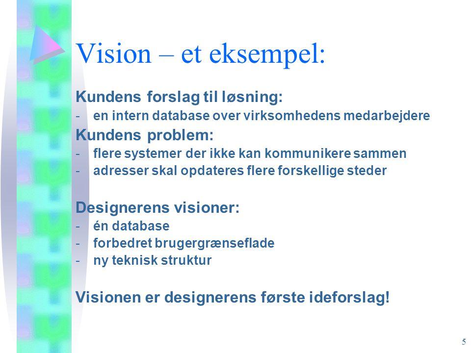 Vision – et eksempel: Kundens forslag til løsning: Kundens problem:
