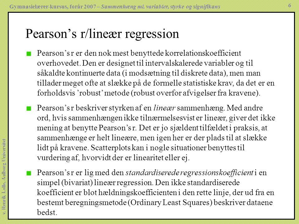 Pearson's r/lineær regression