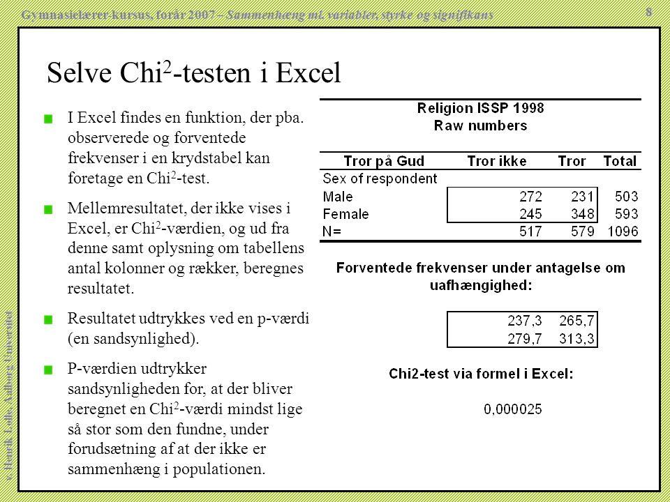 Selve Chi2-testen i Excel