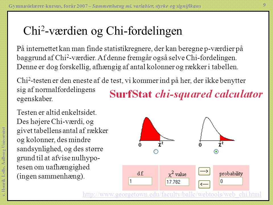 Chi2-værdien og Chi-fordelingen