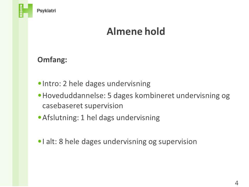 Almene hold Omfang: Intro: 2 hele dages undervisning