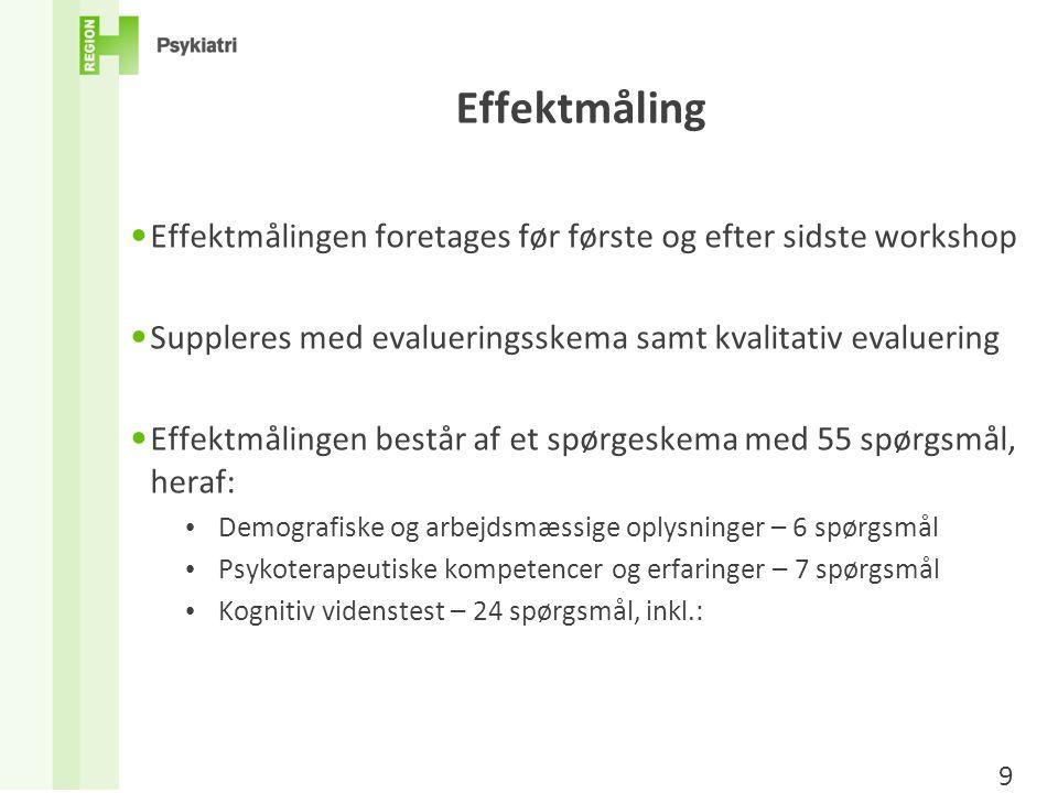 Effektmåling Effektmålingen foretages før første og efter sidste workshop. Suppleres med evalueringsskema samt kvalitativ evaluering.