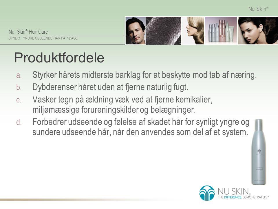 Produktfordele Styrker hårets midterste barklag for at beskytte mod tab af næring. Dybderenser håret uden at fjerne naturlig fugt.