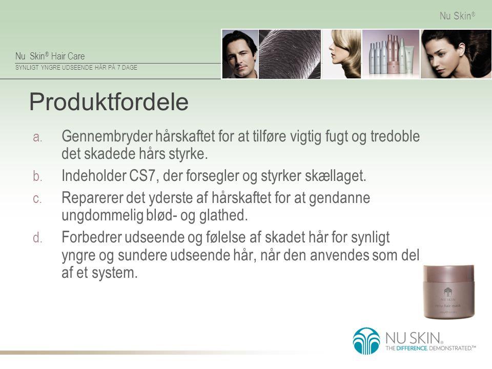 Produktfordele Gennembryder hårskaftet for at tilføre vigtig fugt og tredoble det skadede hårs styrke.
