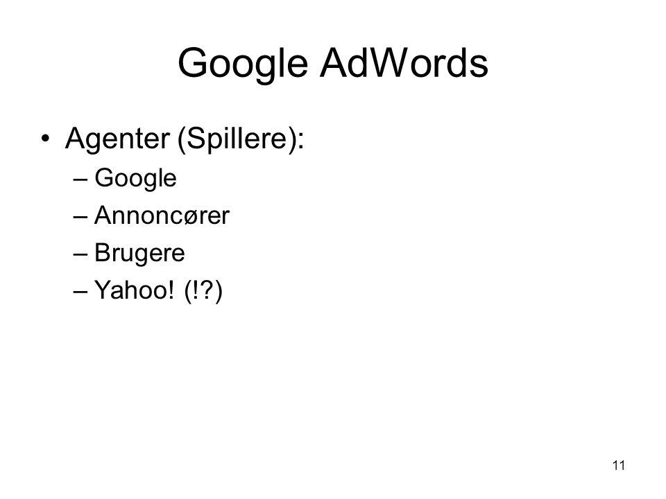 Google AdWords Agenter (Spillere): Google Annoncører Brugere