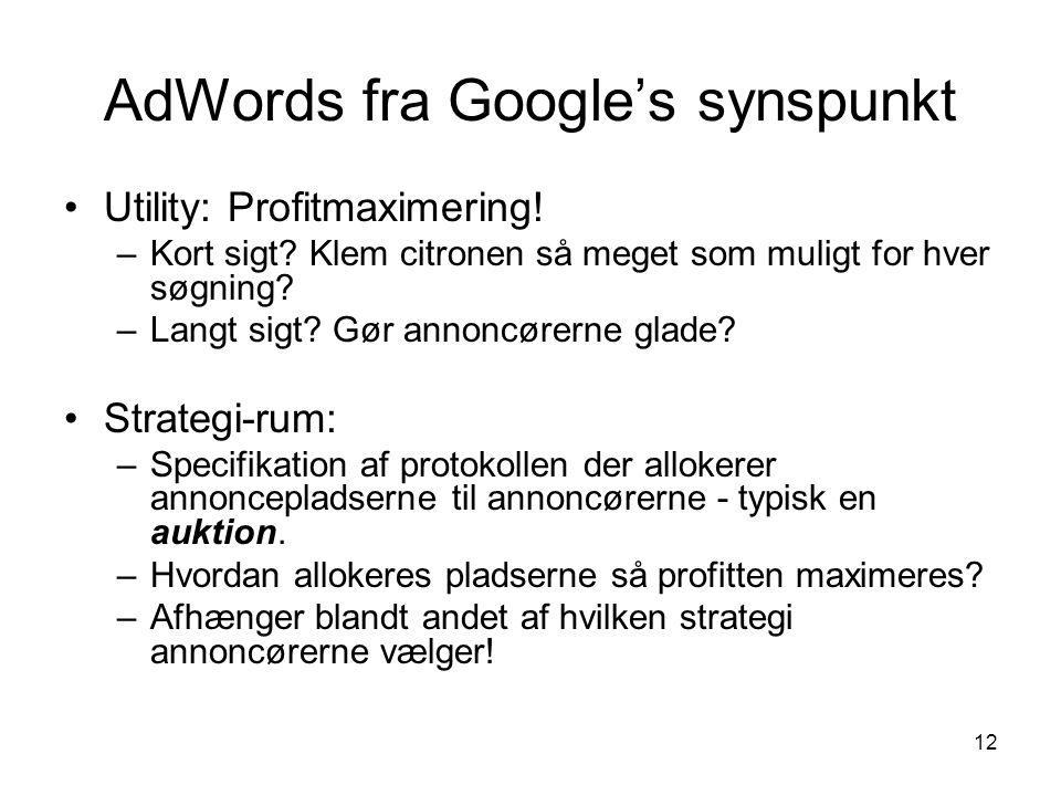 AdWords fra Google's synspunkt
