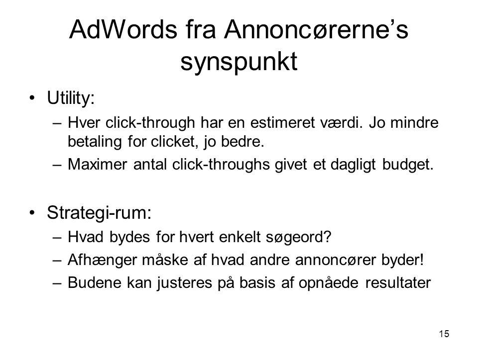 AdWords fra Annoncørerne's synspunkt