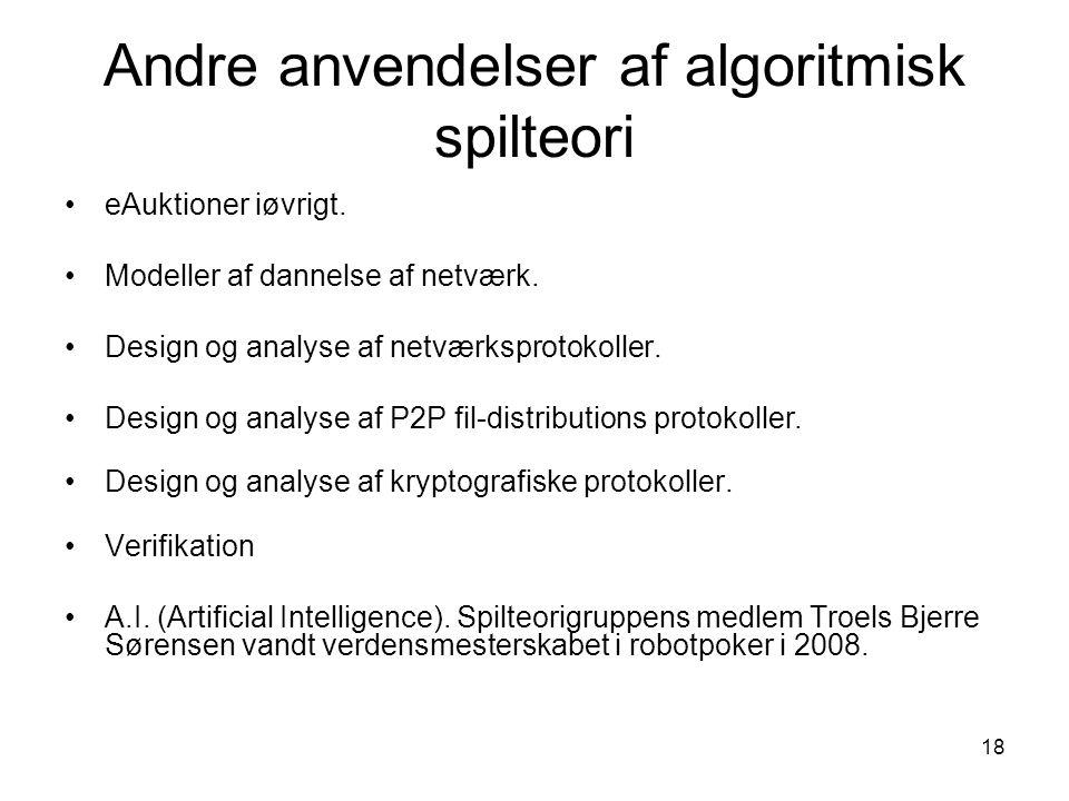 Andre anvendelser af algoritmisk spilteori