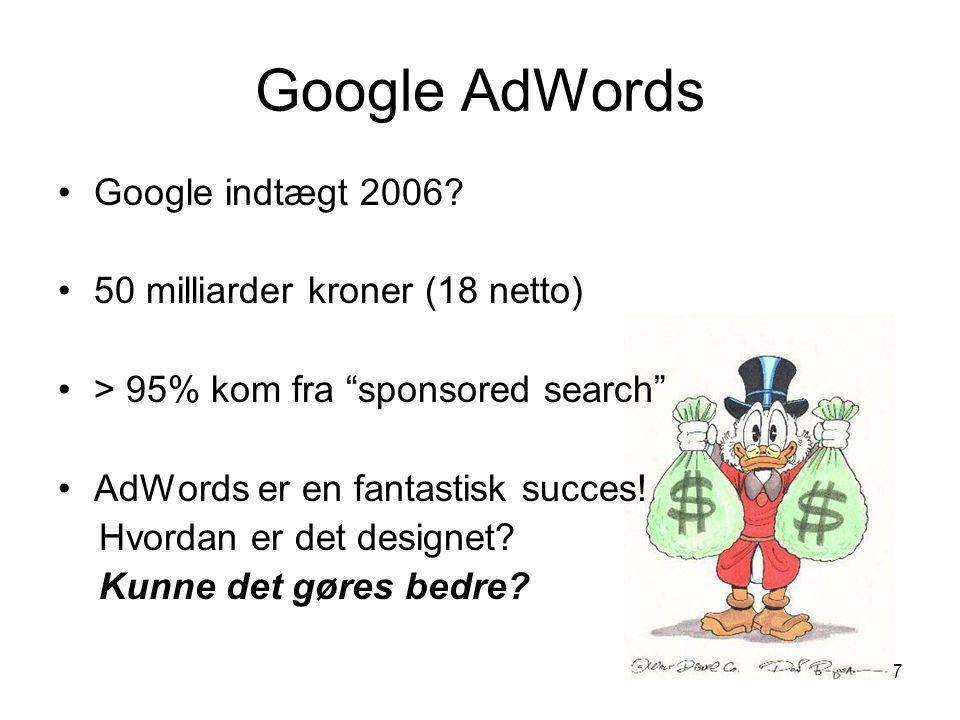 Google AdWords Google indtægt 2006 50 milliarder kroner (18 netto)