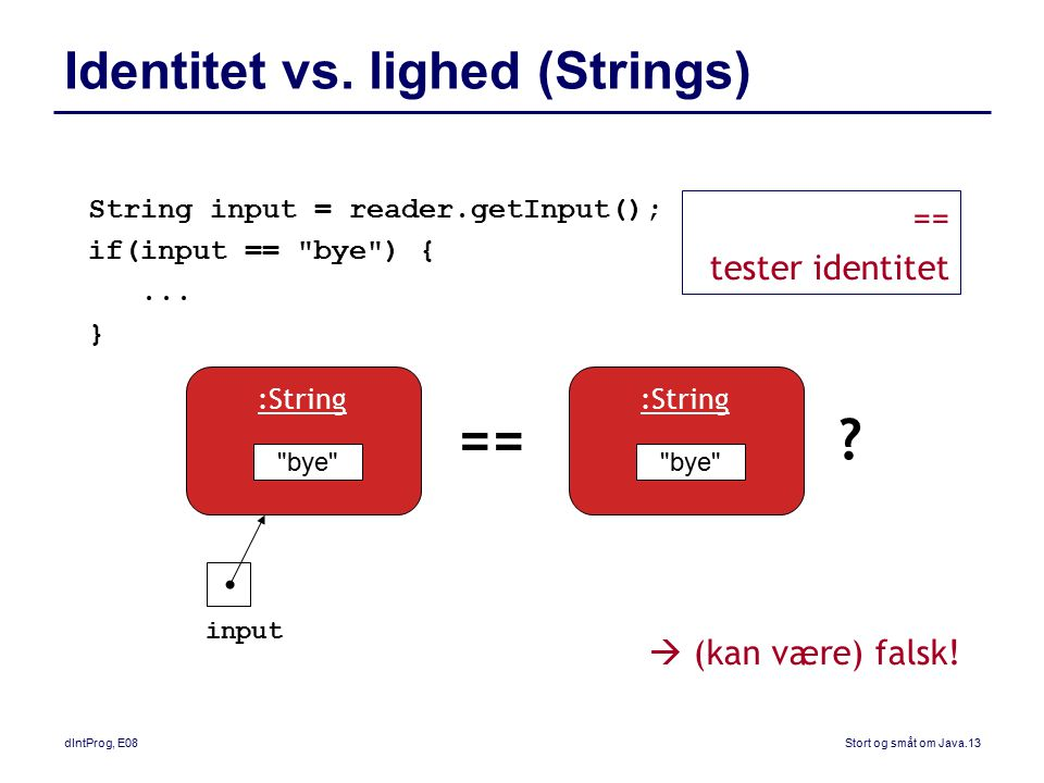 Identitet vs. lighed (Strings)