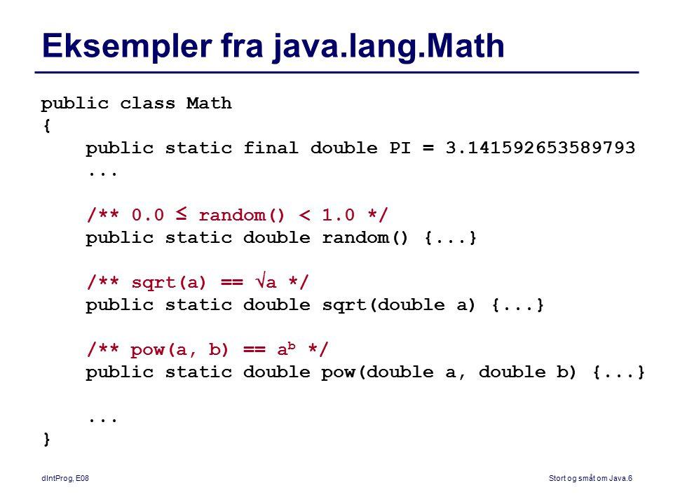 Eksempler fra java.lang.Math