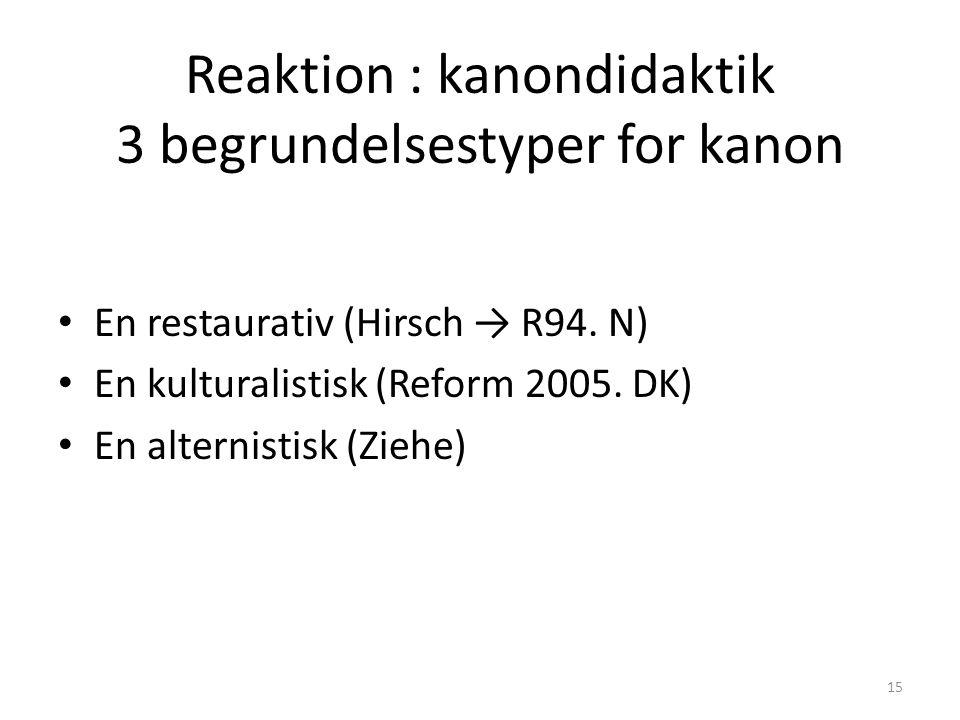 Reaktion : kanondidaktik 3 begrundelsestyper for kanon