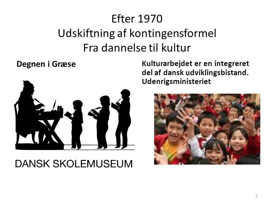 Efter 1970 Udskiftning af kontingensformel Fra dannelse til kultur
