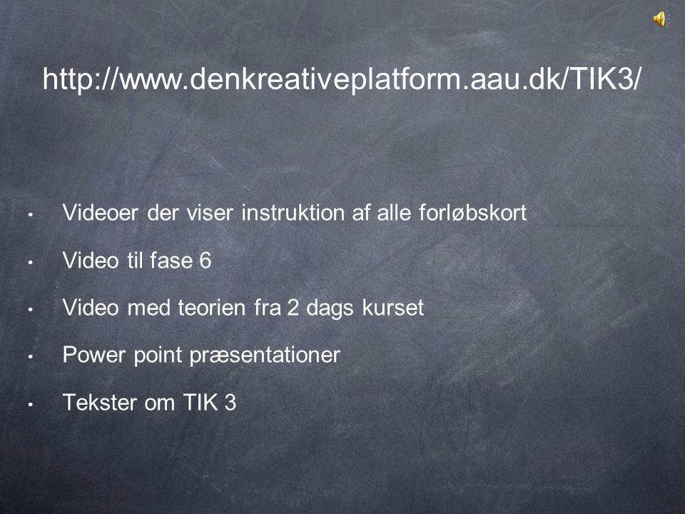 http://www.denkreativeplatform.aau.dk/TIK3/ Videoer der viser instruktion af alle forløbskort. Video til fase 6.