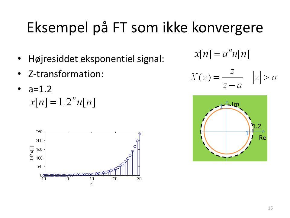 Eksempel på FT som ikke konvergere