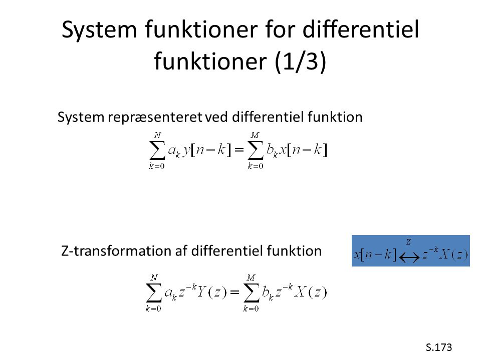 System funktioner for differentiel funktioner (1/3)