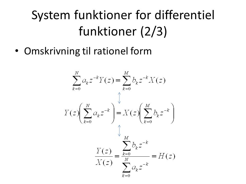 System funktioner for differentiel funktioner (2/3)
