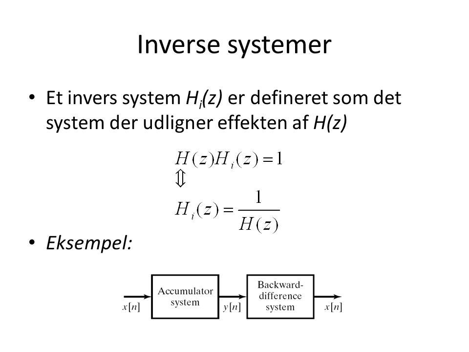 Inverse systemer Et invers system Hi(z) er defineret som det system der udligner effekten af H(z) Eksempel:
