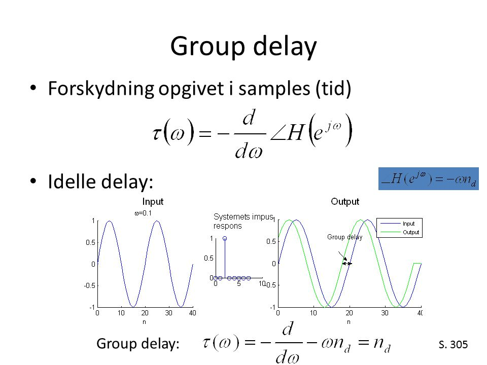 Group delay Forskydning opgivet i samples (tid) Idelle delay: