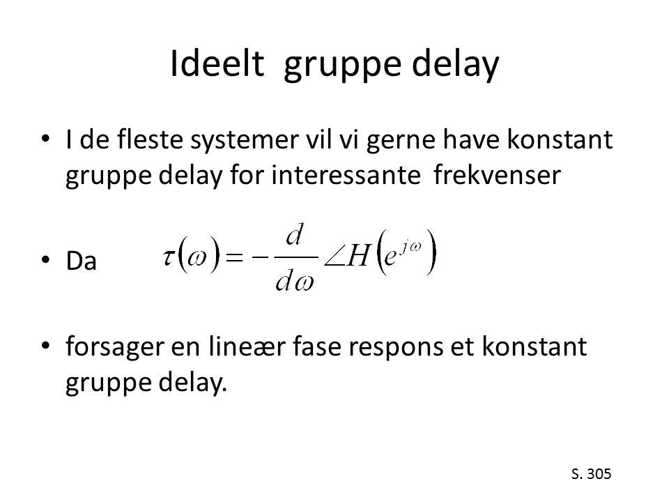 Ideelt gruppe delay I de fleste systemer vil vi gerne have konstant gruppe delay for interessante frekvenser.